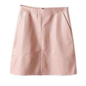 Zara faux leather pink mini skirt